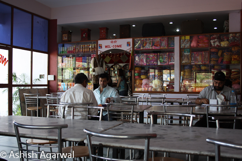 Scene inside a small restaurant in the highway on the Delhi Jaipur highway