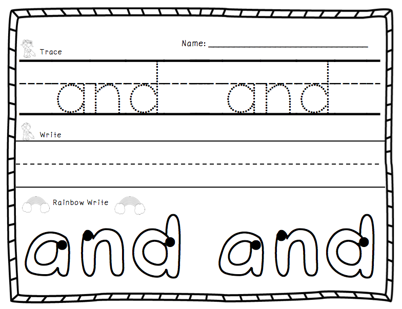 A Spoonful of Learning Sight Words Trace Write Rainbow Write – Learning to Write Worksheets