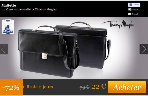 22 € au lieu de 79€ sur votre mallette Thierry Mugler soit 72% d'économie bon plan malette pas cher bon plan deal Thierry Mugler