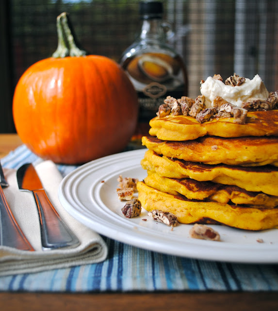 Pumpkin Pancakes with Maple Cream and Candied Vanilla Pecans ...