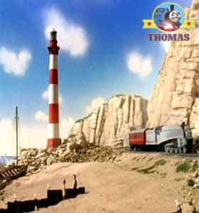 Thomas and friends Spencer train showed the Duchess and Duke Salty's lighthouse sea front beach sand