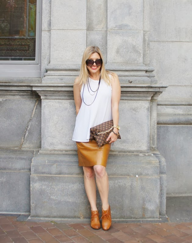 camel leather skirt, Phillip Lim tank, ECCO 65 booties, Lindsay Tia clutch