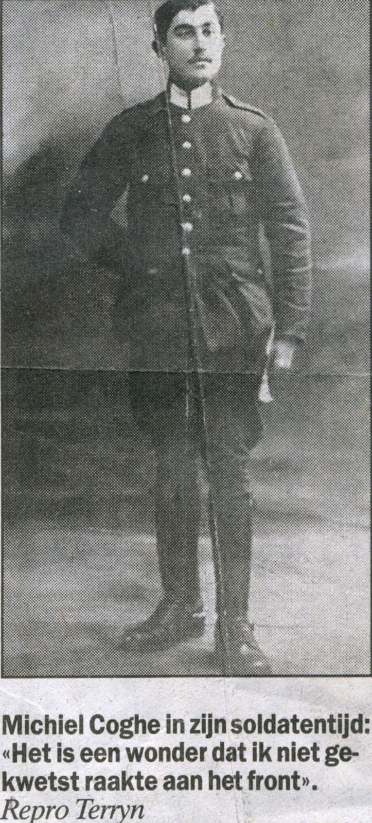 Michiel Coghe als soldaat.