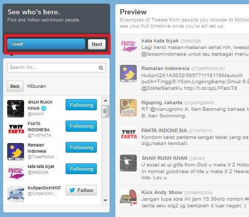 follow akun twitter terkenal