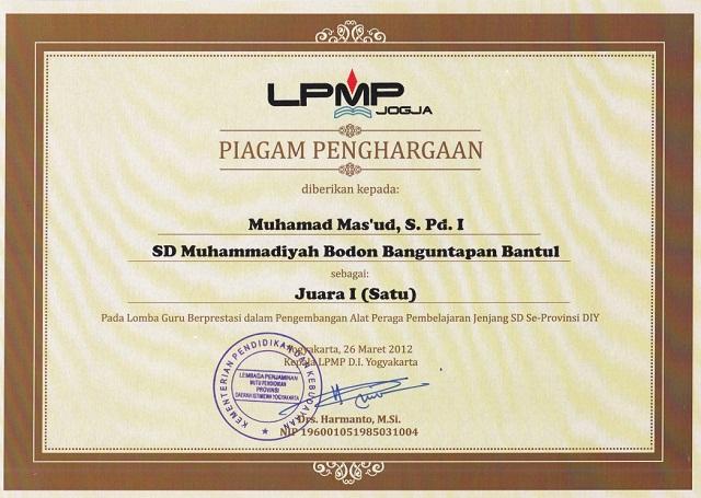Piagam Lomba Guru Berprestasi LPMP DIY 2012 Muhamad Mas'ud