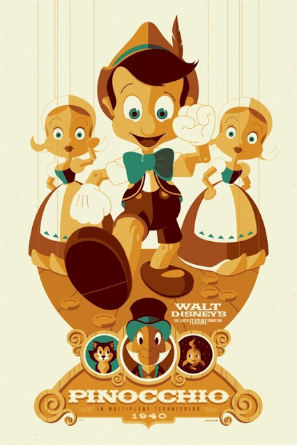 Mondo x Sideshow Collectibles Disney Classic Cartoon Series - Pinocchio Screen Print by Tom Whalen