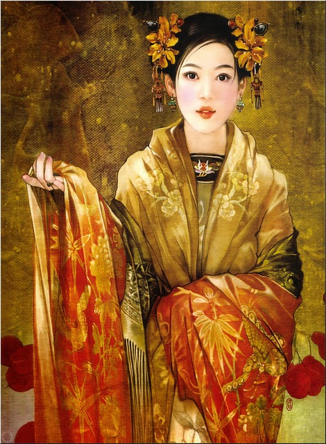 pintura chinesa jovem bonita