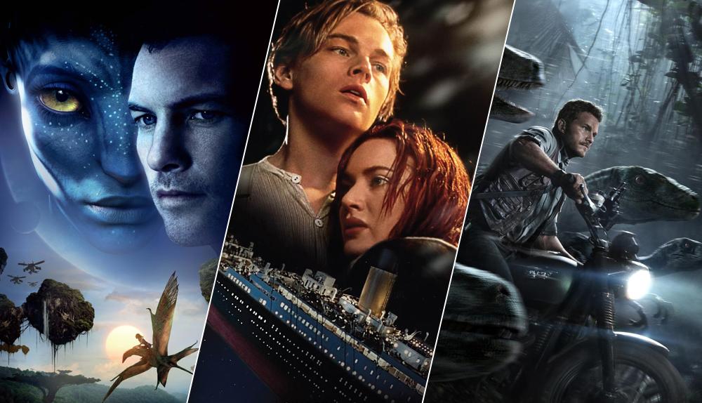 banner exibindo cartazes de três filmes: avatar, titanic e jurassic world, respectivamente