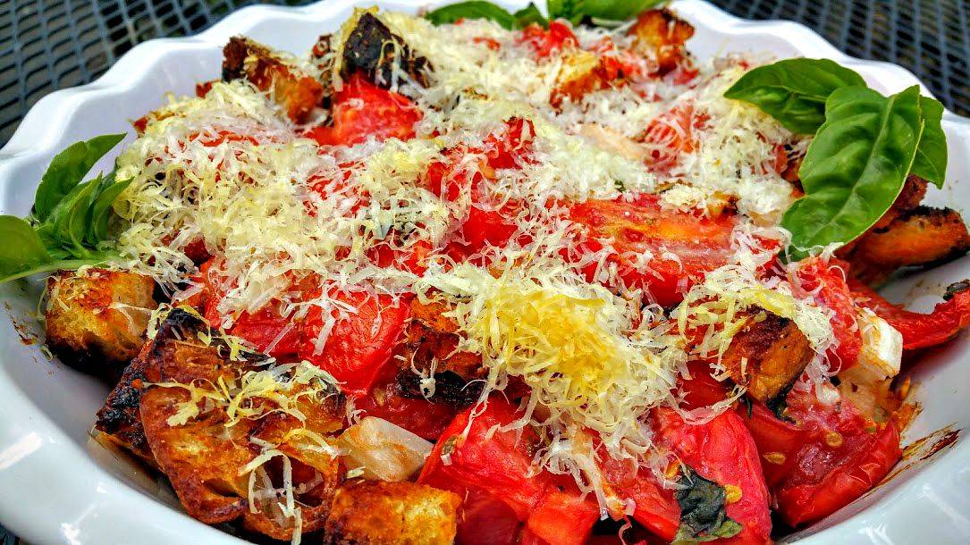 Scalloped Tomatoes With Croutons Recipe — Dishmaps