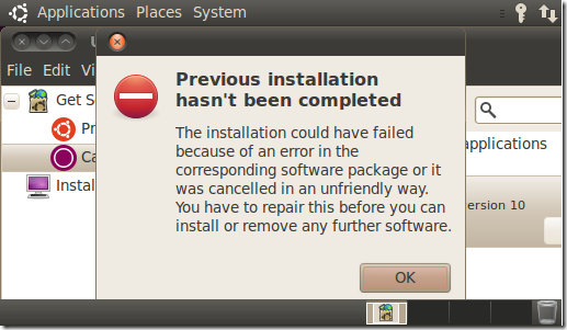 Previous installation hasn't been completed