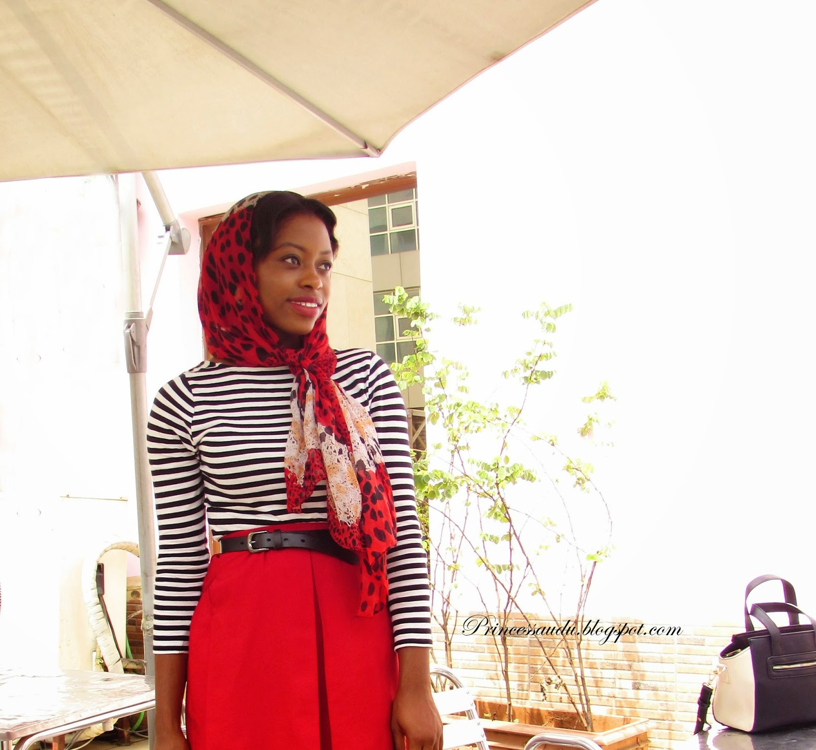 stripes, basics, leopard print, scarf, head-tie, red midi skirt
