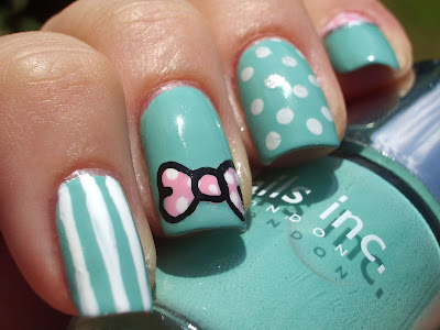 emilys+nail+files+nails+inc+haymarket+nail+art+turquoise+bow+stripe+polka+dot+konad+2 Turquoise Nails with Decorations