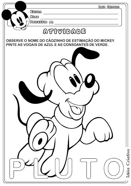 Atividade Vogais e Consoantes Temática Animal de Estimação Pluto