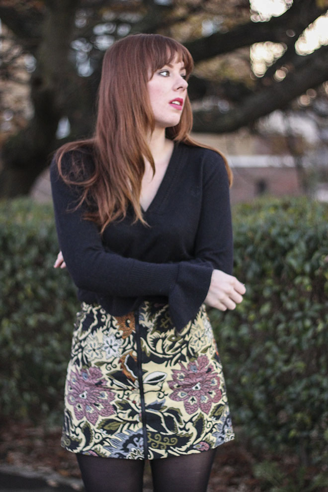 Topshop Statment Tapestry Skirt. Bell Sleeve Jumper - UK Fashion Blogger