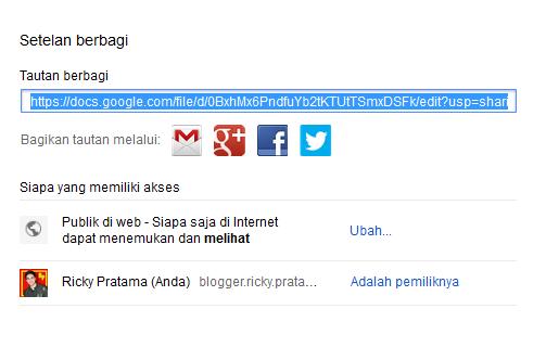 Ambil URL untuk berbagi file ke orang lain