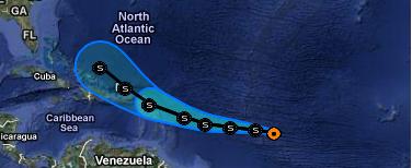 Tropischer Sturm MARIA könnte die Dominikanische Republik verschonen, Maria, Puerto Rico, Kleine Antillen, Dominikanische Republik, Haiti, Hispaniola, Verlauf, Zugbahn, aktuell, Vorhersage Forecast Prognose, September, 2011, Hurrikansaison 2011,