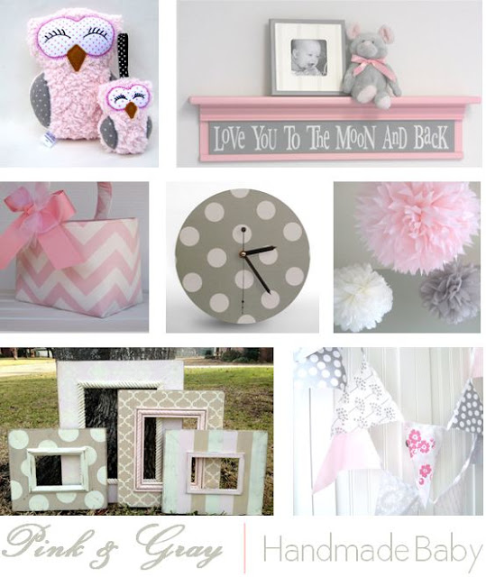 Handmade Nursery Decor, Pink and Grey
