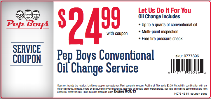Pepboys Promo Code >> Pep Boys Oil Change Discount September 2018 Coupons