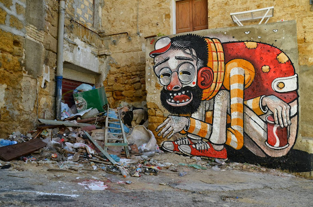 """""""Trash Only Salvation"""" New Street Art Piece By Mr Thoms In Sicily, Italy. 1"""