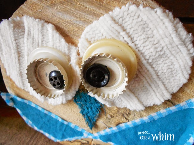 Painted Burlap Nose on a Log Slice Owl via Denise on a Whim
