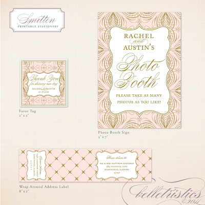 elegant glamorous pink gold printable diy wedding reception stationery design