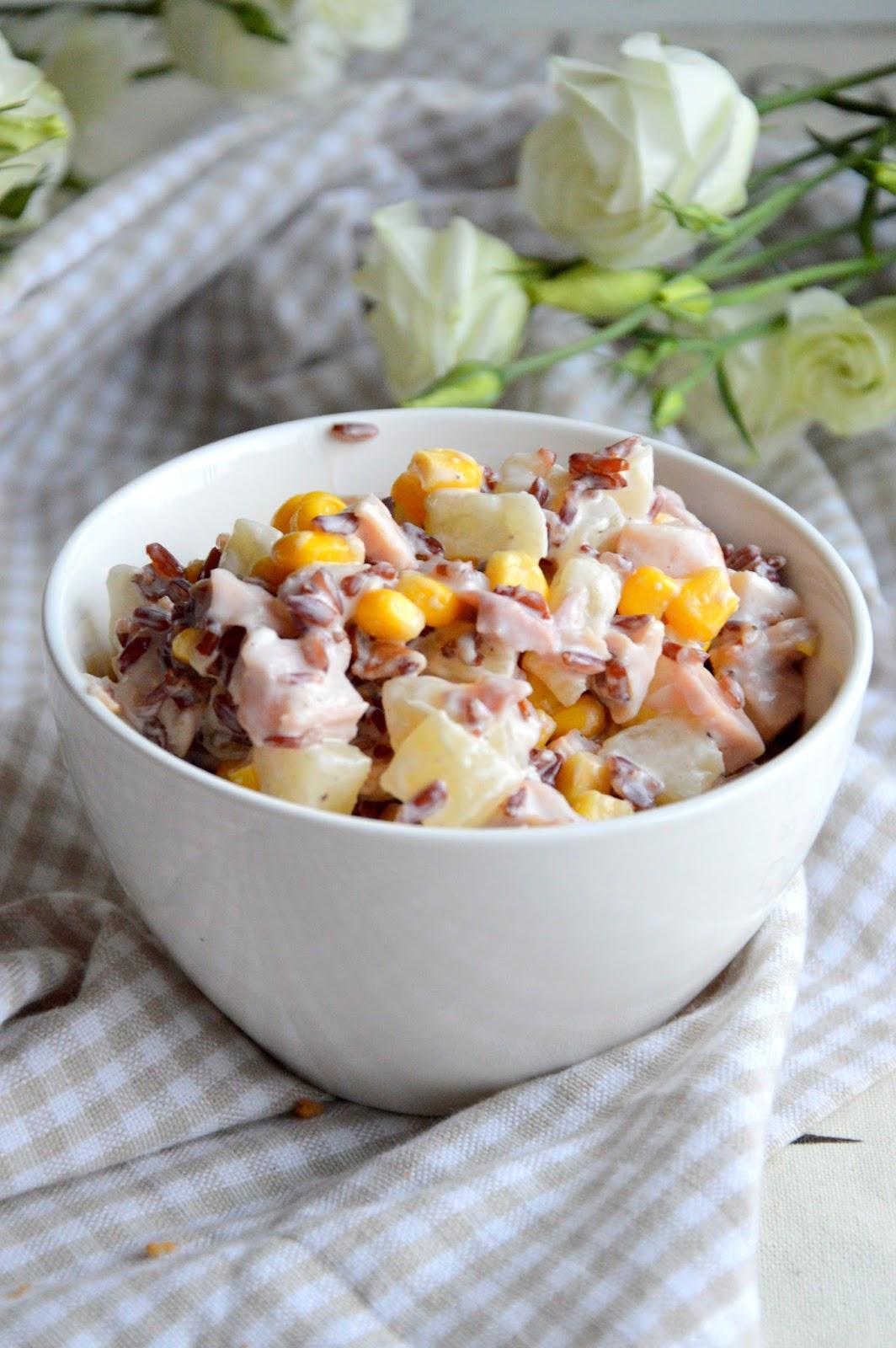 Mangopapaja Prosta Salatka Z Ryzem Ananasem Wedzonym Kurczakiem I