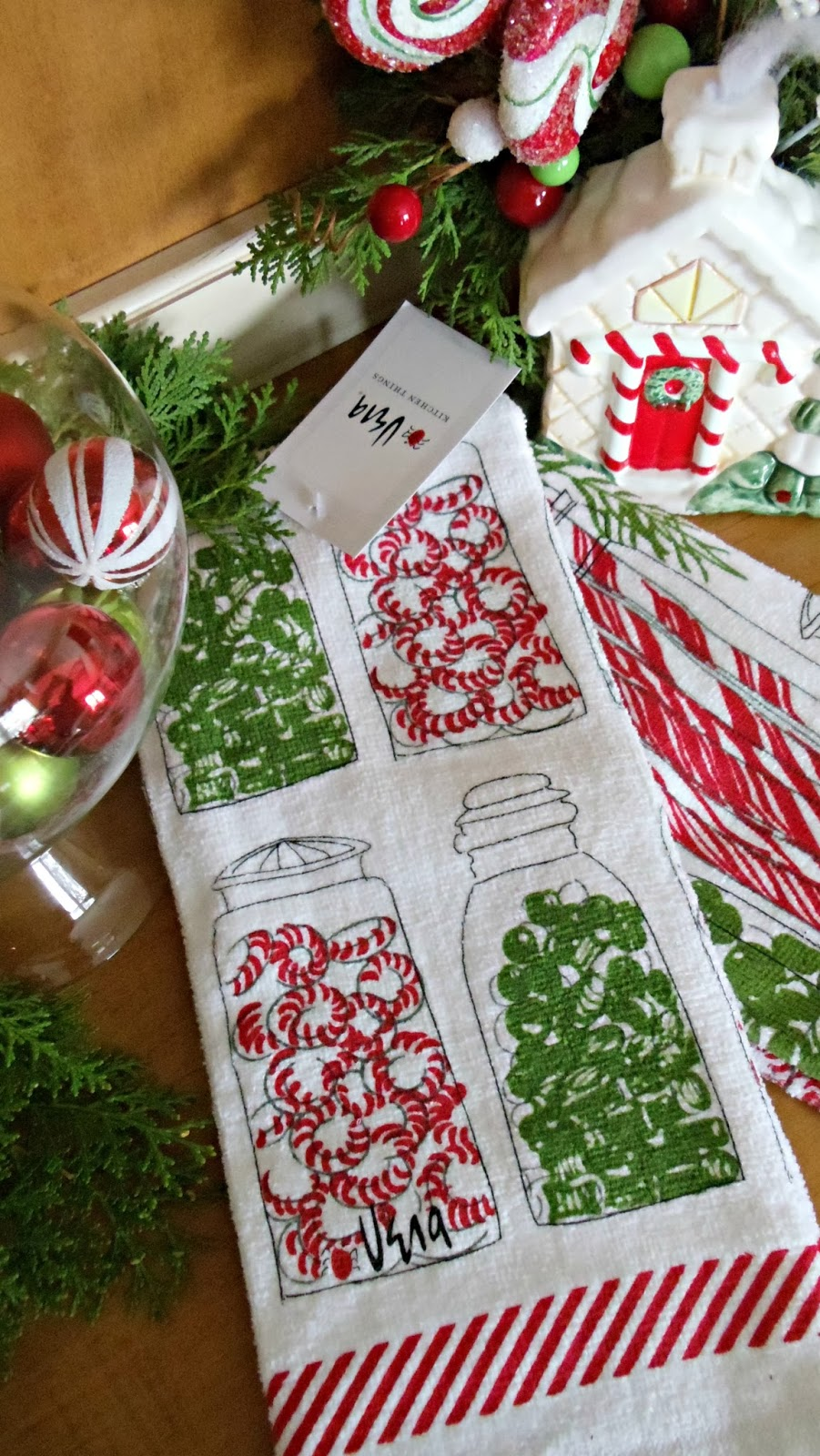 Upstairs Downstairs Christmas Kitchen Towels