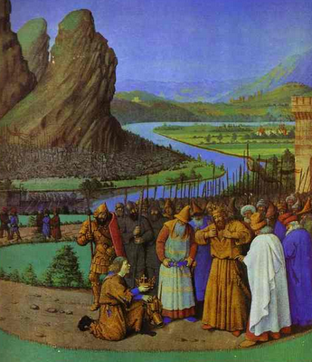 """Report of Saul's Death to David"" - Jean Fouquet, c. 1470"