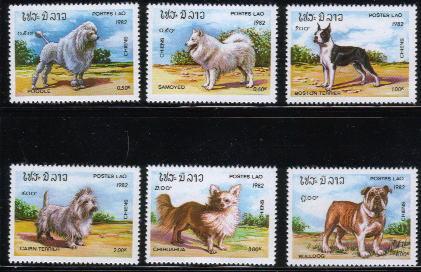 1982年ラオス人民民主共和国 プードル サモエド ボストン・テリア ケアーン・テリア チワワ ブルドッグの切手