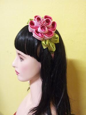 tsumami kanzashi, headband, peony, hair accessory, cekak rambut