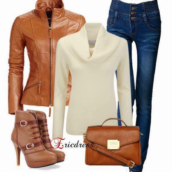 Simple Outfit - Arrival Hot Sale PU Leather Lapel Jacket , Leisure Empire Waist Button Jeans, Graceful Khaki Upper Stiletto Closed-toes Platform Boots
