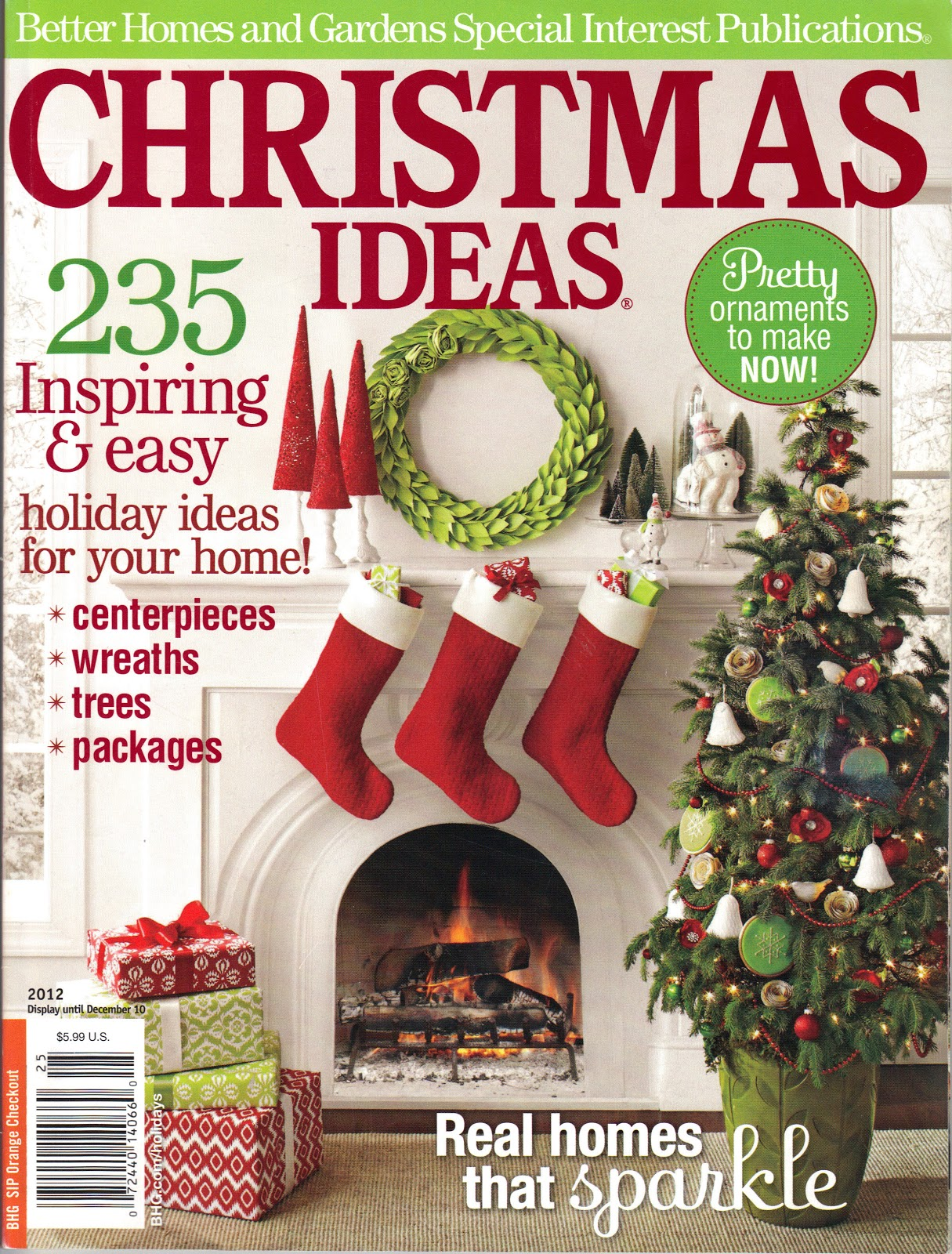 Book page tree jute filled ornaments organized clutter for Home builders magazine