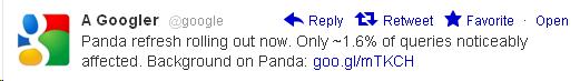 Google Panda Twitter