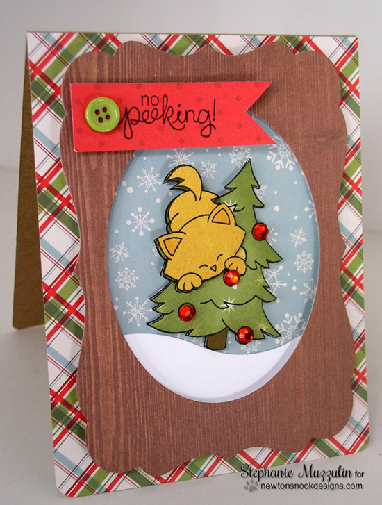 No peeking christmas kitty card by Stephanie Muzzulin for Newton's Nook Designs - Newton's Curious Christmas Cat stamp set