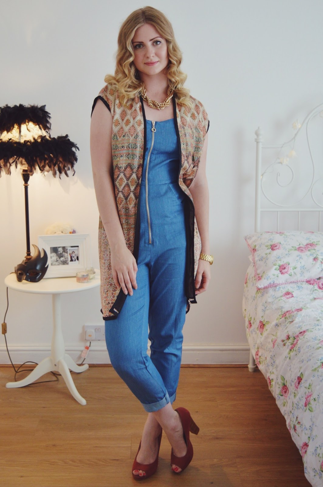 Denim jumpsuit from boohoo.com, fashion bloggers, FashionFake