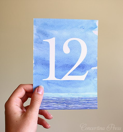 Watercolor Beach Wedding Table Numbers by Concertina Press