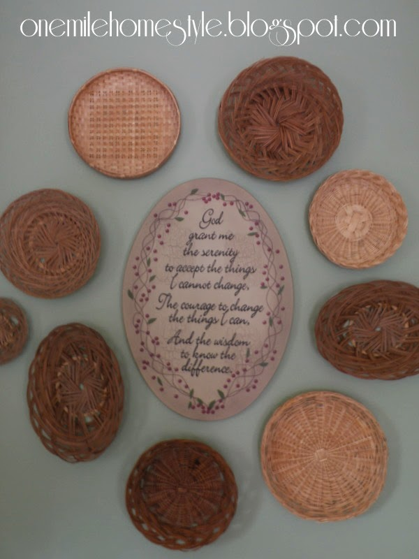 Baskets as art in the kitchen - thrift store finds