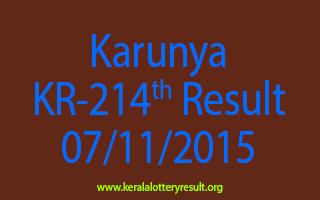 Karunya KR 214 Lottery Result 7-11-2015