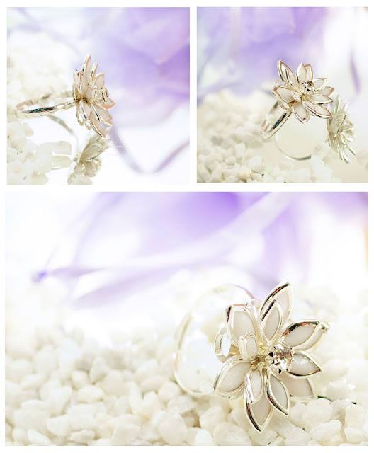 Detailaufnahmen Blumenring weiß silber