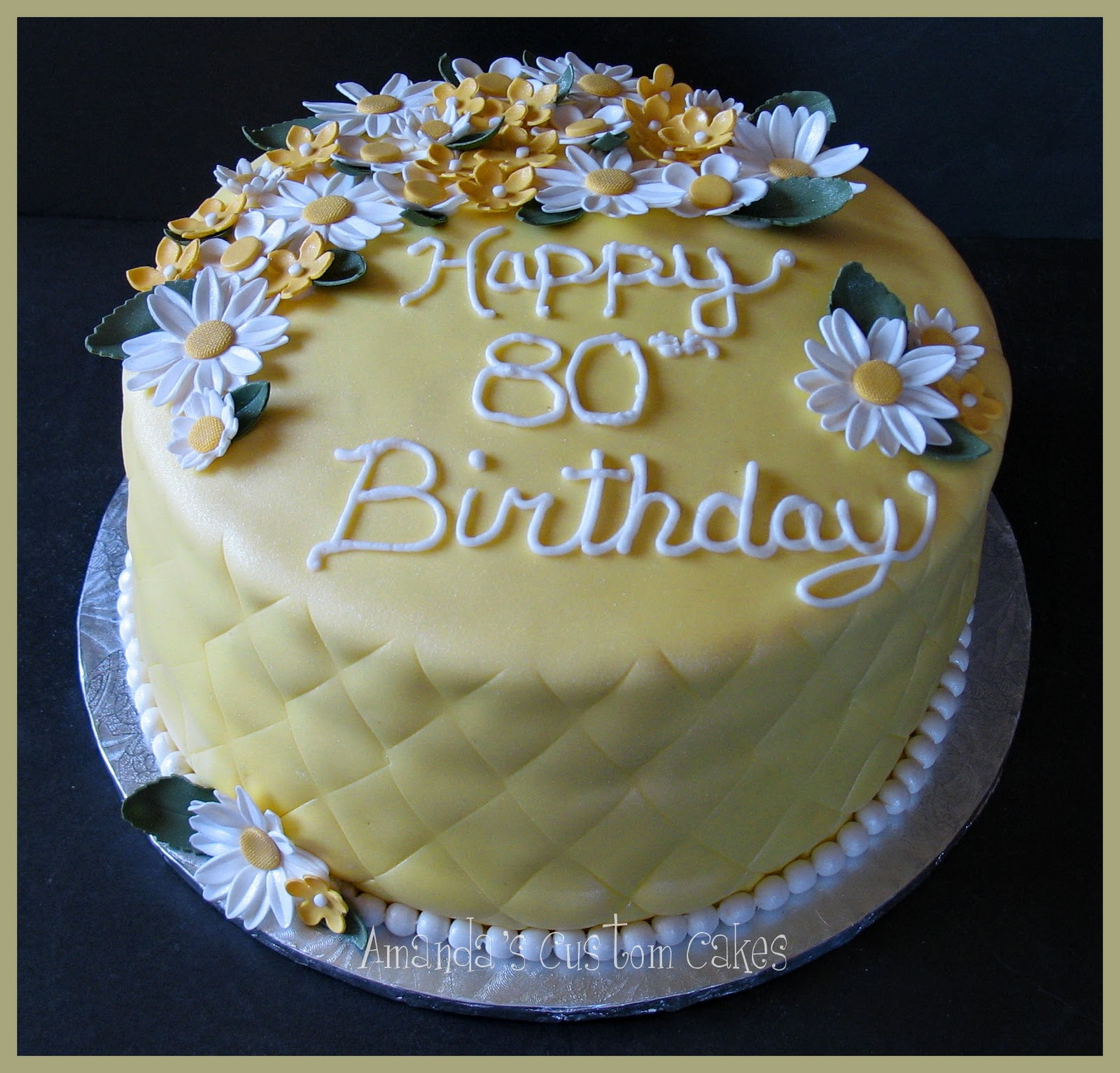 Amanda 39 s custom cakes yellow 80th birthday cake for Gardening 80th birthday cake