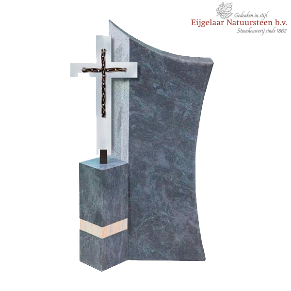 Grafsteen met RVS kruis en Swarovski kristallen