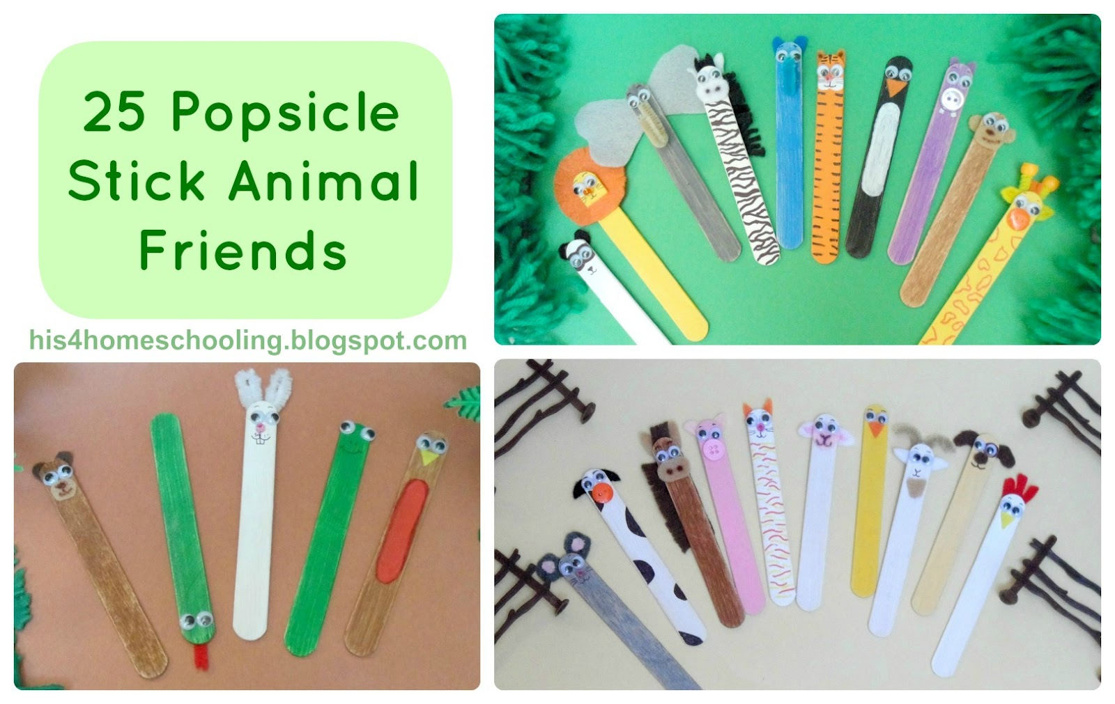is for Homeschooling: 25 Popsicle Stick Animal Friends