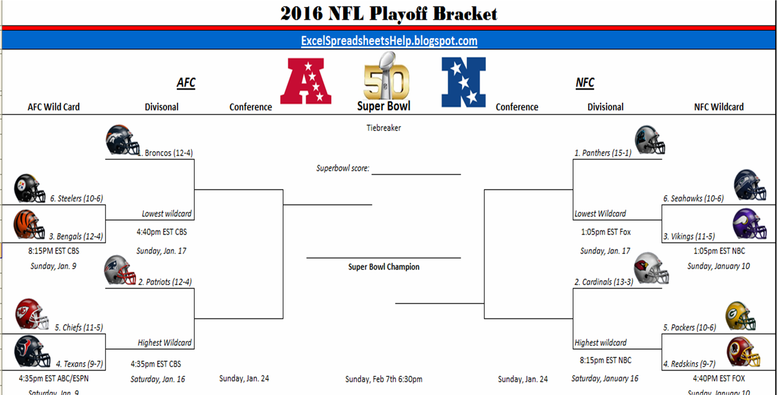 graphic relating to Printable Nfl Playoffs Bracket called Excel Spreadsheets Aid: Printable 2016 NFL Playoff Bracket