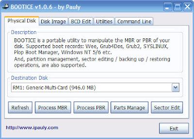 BOOTICE, Hướng dẫn sử dụng, Nạp MBR, Nạp PBR, Active ổ đĩa