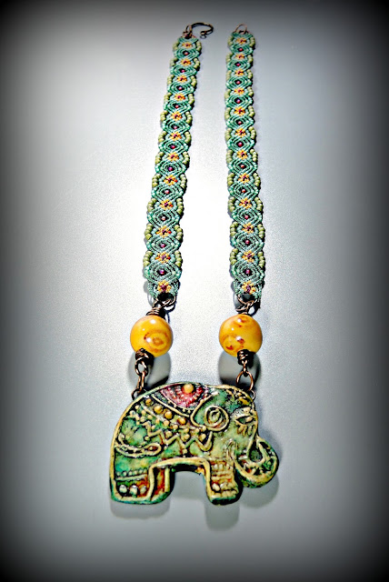 Micro macrame neckace by Sherri Stokey of Knot Just Macrame with elephant pendant from Staci Louise Originals.