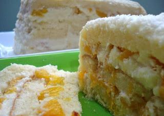 #receita de #bolo #gelado de #pessegos em #calda