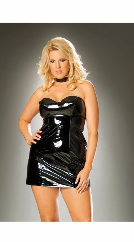 Strapless vinyl spanking dress with adjustable buckle closure