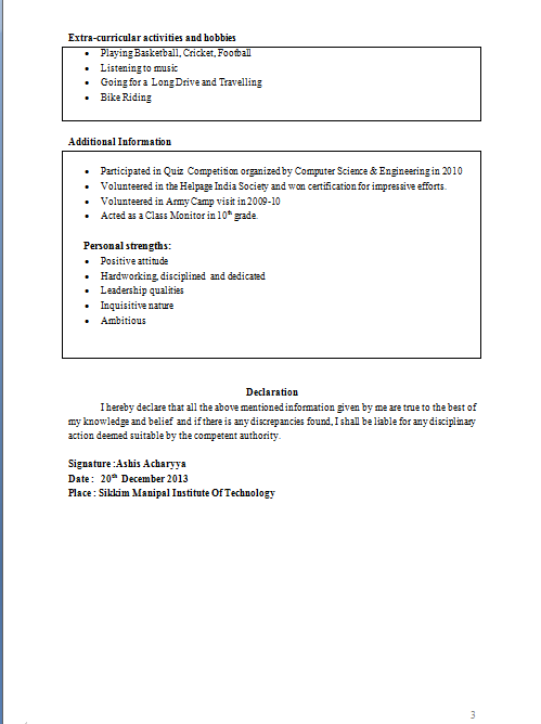 Download Tabular Resume Format
