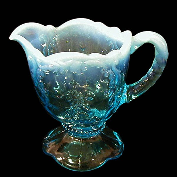EAPG Blue Opalescent Intaglio Cream Pitcher
