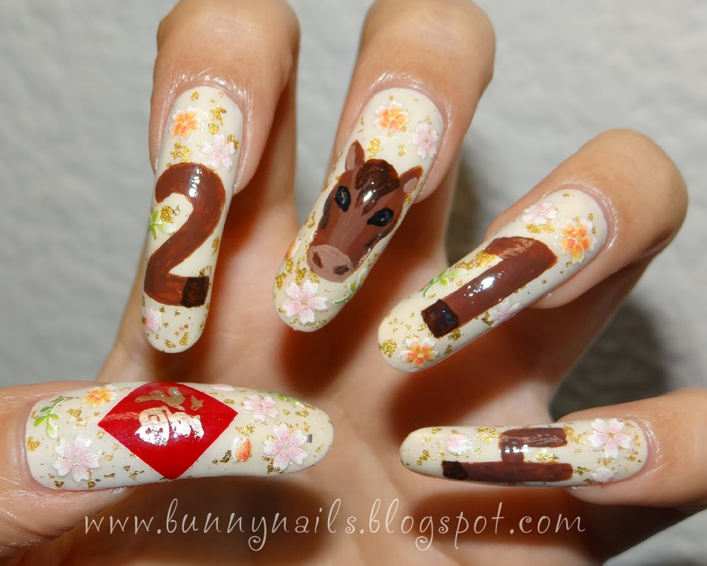 Bunny Nails: 2 Types of New Year Nail Art for 2014